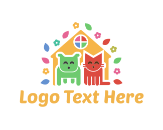 Pet - Cute Pet House logo design
