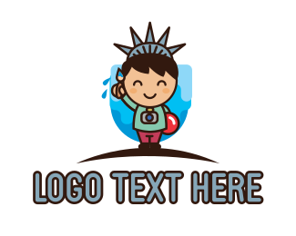 America - Statue of Liberty Cartoon logo design