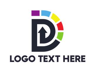 Press - Colorful Twirl D logo design