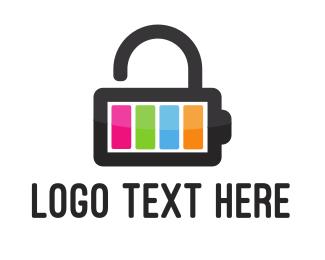 Charger - Battery Lock logo design