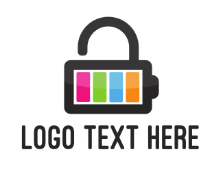 Lock - Battery Lock logo design