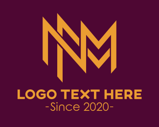 Luxury - Golden N & M Stroke logo design