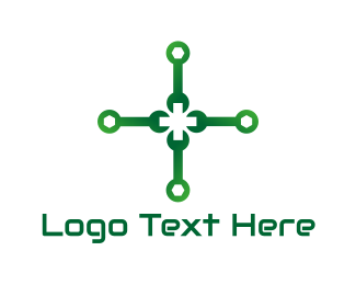Spanner - Green Wrench Cross logo design