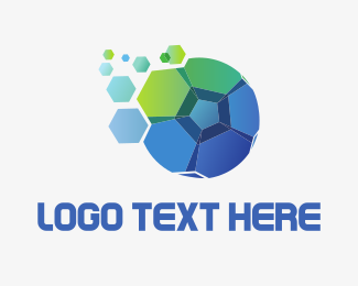Soccer - Blue Green Soccer Ball logo design