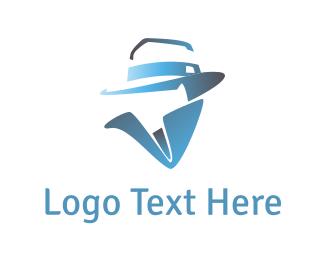 Mysterious - Blue Man Silhouette logo design