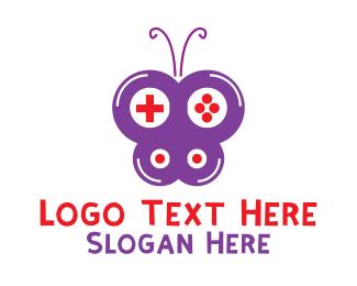 Gamestick - Purple Gaming Butterfly logo design