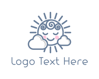 Nursery - Cute Sun  logo design