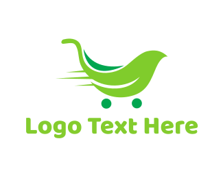 Supermarket - Leaf Trolley logo design