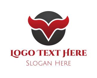 Cow - Horn Letter V logo design