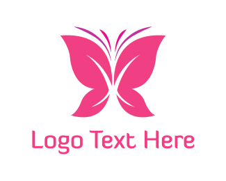 Purple And Pink - Pink Butterfly logo design
