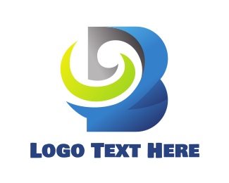 Modified - Blue Swirly Bold B logo design