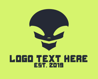 Pubg - Black Alien Skull logo design