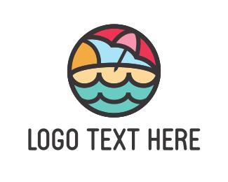 Resort - Beach Umbrella logo design