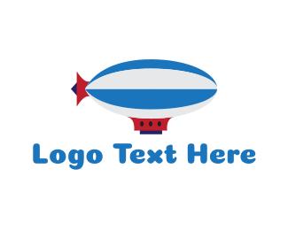 Hot Air Balloon - Blue Zeppelin logo design