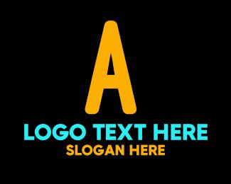 Teenager - Neon Orange Letter A logo design