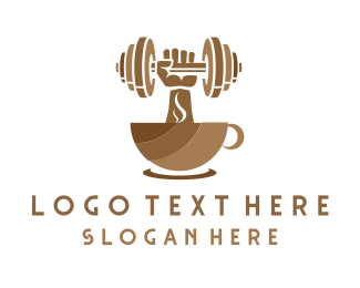 Dumbbell - Strong Coffee logo design