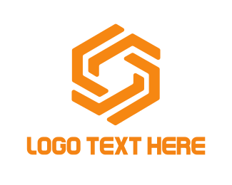 Chain - Orange Hexagon logo design