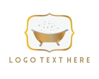 Wellness - Golden Tub logo design