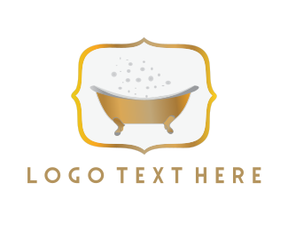 Restroom - Golden Tub logo design