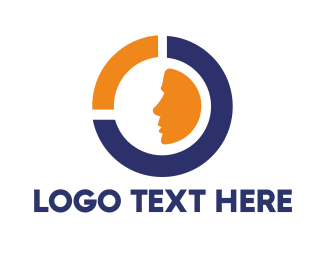 Messaging - Blue Orange Circle Face logo design