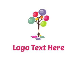 Brush - Art Tree logo design