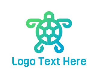 Tortoise - Abstract Green Turtle logo design