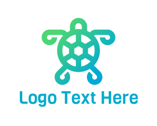 Sea - Abstract Green Turtle logo design
