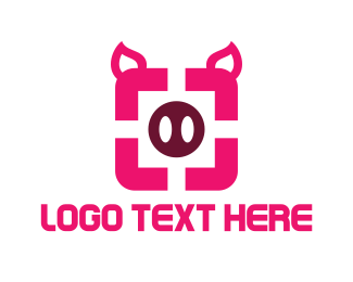 Pork - Pig Square logo design