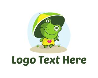 Toad - Frog Umbrella logo design