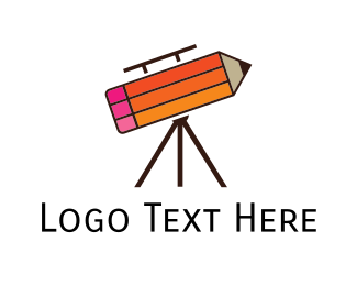 Student - Pencil Telescope logo design