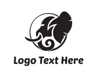 Safari - Elephant Silhouette logo design