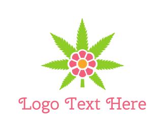 Botanist - Cannabis Pink Flower logo design