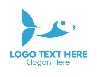 Tuna - Abstract Blue Fish logo design