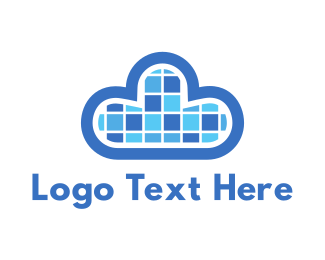 Bitmap - Pixel Cloud logo design