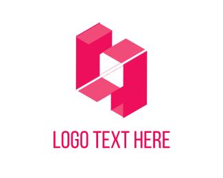 Isometric - Pink Blocks logo design