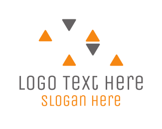Shape - Grey & Orange Triangles logo design