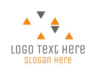 Direction - Grey & Orange Triangles logo design
