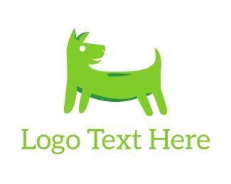 Dog Walker - Green Dog logo design