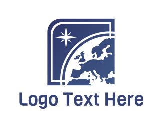 Europe - Globe & Star logo design