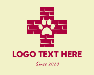 Brick - Dog Paw  logo design
