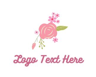 Illustration - Pink Rose & Flowers logo design