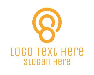 Number 8 - Orange Number 8 logo design
