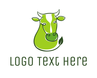 Farm Animal - Green Cow logo design