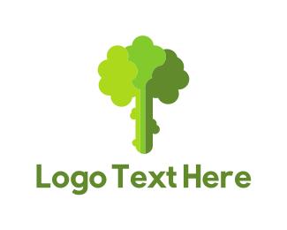 Vegan - Green Broccoli logo design