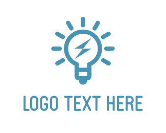 Thunder - Blue Bulb logo design