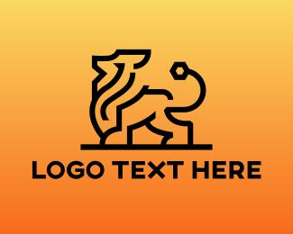 Lioness - Modern Lion Outline logo design