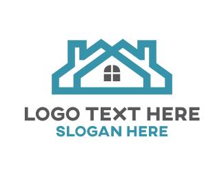 Rent - Teal Twin House logo design