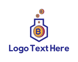 Cryptocurrency - Bitcoin House logo design