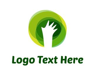 Recycling - Eco White Hand logo design