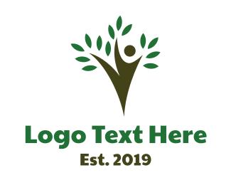 Gymnastics - Agile Tree Person logo design